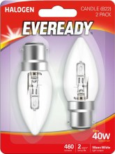 Eveready 30W B22 Halogen Candle Bulb 2 Pack