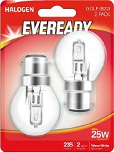 Eveready 20W B22 Halogen Bulbs 2 Pack