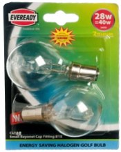 Eveready 28W B15 Halogen Bulbs 2 Pack
