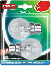 Eveready 42W B22 Halogen Bulbs 2 Pack