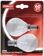 Eveready 60W E14 Golf Bulbs 2 Pack