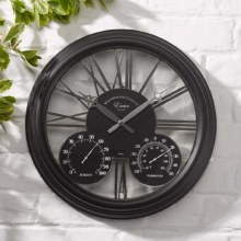 Exeter Black Garden Wall Clock with Thermometer & Hygrometer