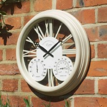 Exeter Garden Wall Clock with Thermometer & Hygrometer