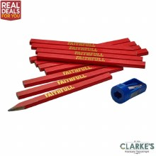 Faithfull 12 Medium Carpenter Pencils, Sharpener & Lanyard Set