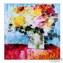 Floral on Blue Wall Art on Canvas