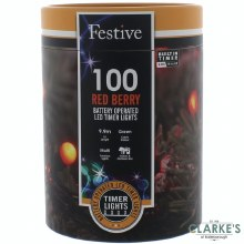 100 LED Red Berry Battery Operated Christmas Lights 9.9m