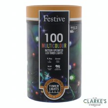 100 LED Battery Operated Christmas String Lights - Multicolour 9.9m