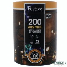 200 LED Battery Operated Christmas String Lights - Warm White 19.9m