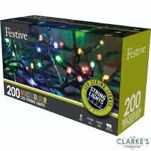 200 LED String Christmas Lights - Multicolour 19.9 Meter
