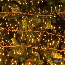240 LED Silver Cluster Christmas Lights - Amber