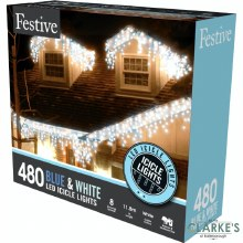 480 LED Snowing Icicle Christmas Lights - White / Blue 11.8m
