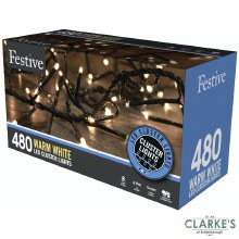 480 LED Cluster Christmas Lights - Warm White 6.9m
