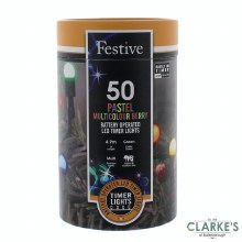 50 LED Berry Battery Operated Christmas Lights - Pastel Multicolour 4.9m