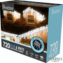 720 LED Snowing Icicle Christmas Lights - White / Blue 17.8m