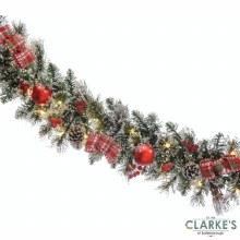 LED Lit Tartan Ribbon Christmas Garland 270cm