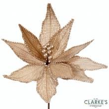Poinsettia Stem Gold/Cream - Christmas Decoration