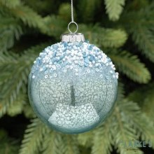 Metallic Blue Frosted Christmas Tree Glass Bauble 8cm