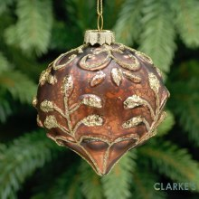Brown and Gold Leaf Design Glass Christmas Tree Decoration 8cm
