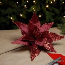 Rich Red Glitter Christmas Poinsettia Long Stem Decoration 60cm