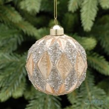 Copper Diamond Christmas Tree Glass Bauble 8cm