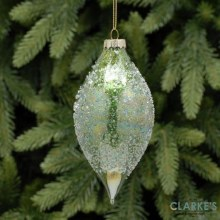 Gold Encrusted Emerald Green Teardrop Christmas Bauble 13cm