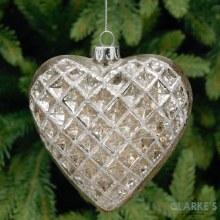 Silver Glass Heart - Christmas Tree Ornament 10cm