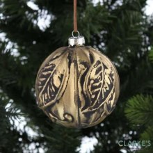 Antique Gold Christmas Glass Bauble 10cm