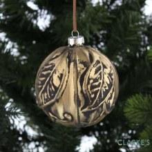 Antique Gold Christmas Glass Bauble 10cm