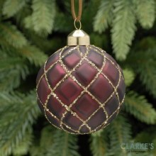 Burgundy and Gold Quilted Glass Christmas Bauble 8cm