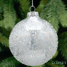 Crusted Glass Bauble - Christmas Tree Ornament 8 cm