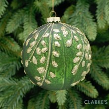 Leaf DesignGreen and Gold Glass Christmas Bauble 10cm