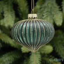 Regal Evergreen and Gold Frosted Christmas Tree Bauble 8cm