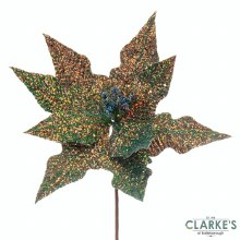 Blue Gold Hologaphic Poinsettia Stem 26cm