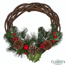 Holly, Berries and Pine cone Christmas Wreath 40cm