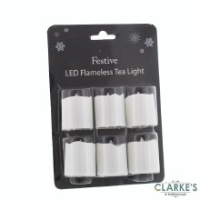 Christmas Tealight LED Candles Battery Operated Pack of 6