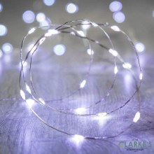 50 Micro LED Battery Operated Christmas Lights - Cool White