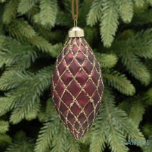 Burgundy and Gold Quilted Glass Christmas Decoration 12cm