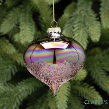 Rich Red Iridescent Christmas Bauble 8cm