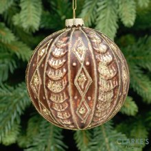 Brown and Gold Ridged Glass Christmas Tree Bauble 10cm