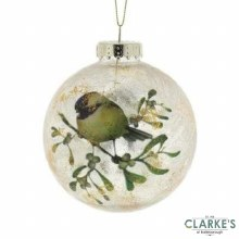 Festive Robin Christmas Tree Bauble 10cm