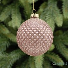 Rose Gold Criss Cross Christmas Tree Bauble
