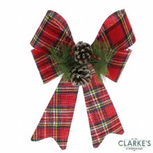 Large Christmas Bow - Tartan and Pine Cone 35.5cm