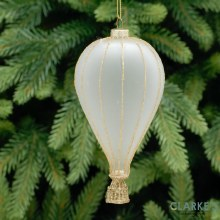 White and Gold Frosted Droplet Glass Christmas Decoration 13cm