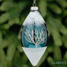 White Glitter Olive Christmas Tree Ornament 12cm