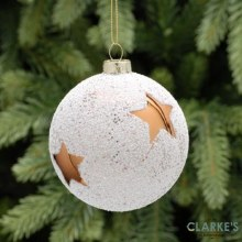 Copper Star Frosted Christmas Tree Glass Bauble 8cm