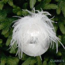 White Feather Christmas Tree Bauble