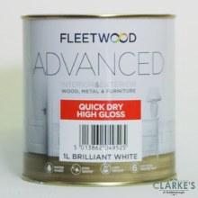 Fleetwood Advanced Quick Dry High Gloss Paint White 1 Litre