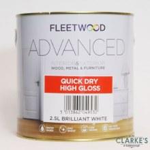 Fleetwood Advanced Quick Dry High Gloss Paint White 2.5 Litre