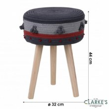 Natural Living - Cotton Rope Footstool Grey