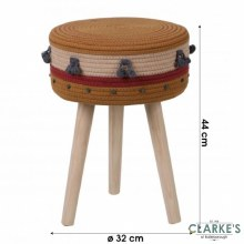 Natural Living - Cotton Rope Footstool Yellow